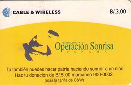 TARJETA TELEFONICA DE PANAMA (CHIP). PAN-C&W-83 OPERACIÓN SONRISA (037) REVERSO RAYADO - Panama
