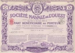 SOCIETE NAVALE DE L'OUEST -PART BENEFICIAIRE- ANNEE 1923 - COULEUR VIOLETTE - Navigation