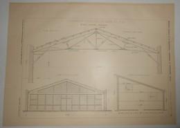 Plan D'une Charpente D'atelier En Bois Et  Fer. M. César Cicogna, Architecte.1903. - Public Works