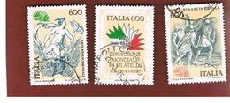ITALIA REPUBBLICA  - UNIF. 1710.1712  -      1985  ITALIA '85 ESPOSIZ. FILATELICA    -      USATO - 1946-.. Republiek