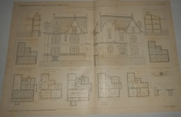 Plan D'une Villa à Saint Germain Des Fossés Dans L'Allier. M. Percilly, Architecte. 1903. - Travaux Publics