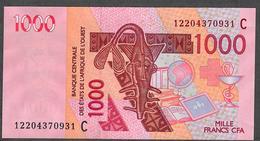 W.A.S. LETTER C BURKINA FASO P315Cl 1000 FRANCS (20)12  2012 UNC. - Burkina Faso