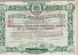 SOCIETE NAVALE DE L'OUEST - OBLIGATION DE 250 FRS - 6 % PORTEUR  -ANNEE 1923 -COULEUR VERTE - Navigation