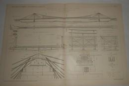 Plan Du Pont Suspendu De Vernaison Sur Le Rhône. M.M. A. Teste, Moret Et Compagnie, Constructeurs à Lyon. 1903. - Travaux Publics