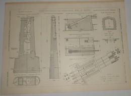 Plan Du Pont Suspendu De Vernaison Sur Le Rhône. M.M. A. Teste, Moret Et Compagnie, Constructeurs à Lyon. 1903. - Public Works