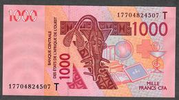 W.A.S. LETTER T TOGO P815Tq 1000 FRANCS (20)17  2017 UNC. - Togo