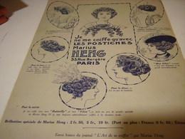 ANCIENNE PUBLICITE LES POSTICHES COIFFURE DE MARIUS HENG 1913 - Accessories