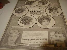 ANCIENNE PUBLICITE LES POSTICHES COIFFURE DE MARIUS HENG 1913 - Advertising