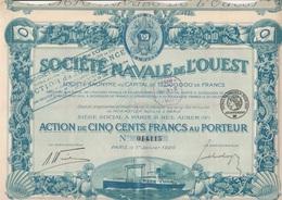SOCIETE NAVALE DE L'OUEST - ACTION DE CINQ CENT FRANCS - ANNEE 1920 - COULEUR BLEU - Navigation