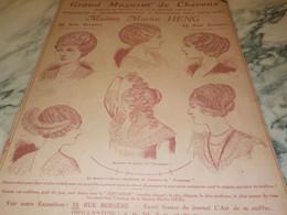 ANCIENNE PUBLICITE LES POSTICHES COIFFURE DE MARIUS HENG 1912 - Accessories