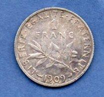 1 Franc Semeuse  1909 / TTB+ - H. 1 Franc