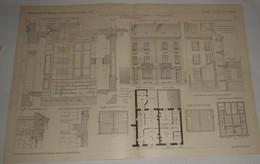Plan De Petites Maisons Jumelles, Rue Masset à Vichy Dans L'Allier.M. A. Percilly, Architecte. 1903. - Public Works