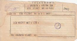 TELEGRAMME SENT FROM FOLOASI TO CLUJ NAPOCA, 1968, ROMANIA - Télégraphes