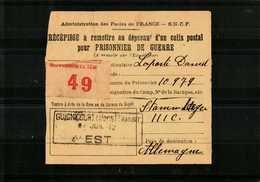 Récépissé Pour Un Colis Postal à Un PRISONNIER DE GUERRE  39-45- - Documents