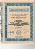 MINES D'ALZON - GARD- LOT DE 5 ACTIONS DE 100 FRANCS  -ANNEE 1929 - Mines