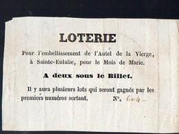 Bordeaux (33 Gironde) Ticket De Loterie Pour L'embellissement De Sainte Eulalie (PPP12660) - Lottery Tickets