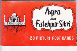 AGRA Et FATEHPUR SIKRI (Inde), Etat De L'ULTAR PRADESH,  Carnet De 20 Cartes Postales En Couleurs Détachables 1960 Env. - India