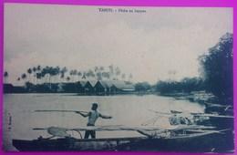 Cpa Tahiti Pêche Au Harpon Carte Postale Océanie Française Rare Harpoon Fishing Postcard Oceania French - Tahiti