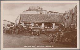 Carts Outside Fish Market, Gibraltar, C.1920s - Mahtani & Co RP Postcard - Gibraltar