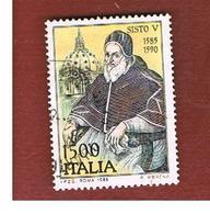 ITALIA REPUBBLICA  - SASS. 1713  -      1985  PAPA SISTO V    -      USATO - 6. 1946-.. República