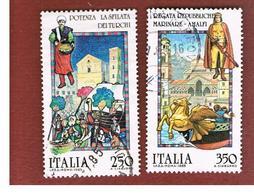 ITALIA REPUBBLICA  - SASS. 1714.1715  -      1985  FOLKLORE: AMALFI, POTENZA     -      USATO - 6. 1946-.. República