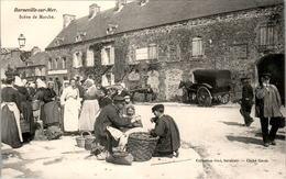 BARNEVILLE-SUR-MER - Scène De Marché Market Attelage De Chevaux Horse - MANCHE TB.Etat - Barneville