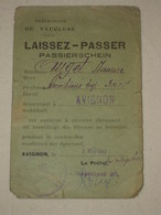 WW2 1943 Vaucluse LAISSEZ-PASSER PASSIERSCHEIN Avignon Auxiliaire SNCF Autorisation Couvre Feu - 1939-45