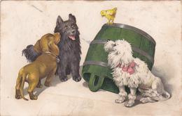 CPA Animal Dog Teckel Dackel Daschsund Caniche + Autre Chien Poussin Fantaisie Illustrateur - Chiens