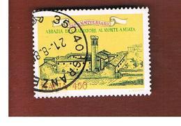 ITALIA REPUBBLICA  - SASS. 1728 -      1985  ABBAZIA  DEL MONTE AMIATA     -      USATO - 1946-.. Republiek