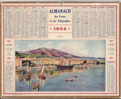 Almanach Des Postes Et Telegraphes Ajaccio Corse Carte Aveyron Complet 1934 - Calendriers