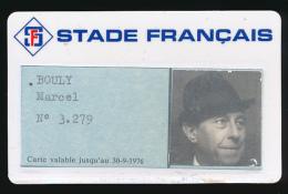 Carte (1976) De Membre (n° 3.279), Du Club Sportif STADE FRANCAIS (Paris), Marcel Bouly, Carte Plastifiée Dure - Sports