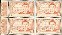"""COTE IVOIRE  1939  MNH  -  """" CENTENAIRE De RENE CAILLIE / VARIÉTÉ SANS LE NOM DU PAYS """"  -  BLOC DE 4 VAL - Côte-d'Ivoire (1892-1944)"""