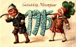 Année Date Millesime 1916 - Enfants Portant Chiffres Myosotis Gaufrée Embossed - Nouvel An