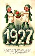 Année Date Millesime 1927 - Enfants Sur Chiffres Neige Corbeille Champignon - New Year
