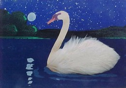Belle Cpa Peinte Main CYGNE PLUMES REELLES Et Découpis Collage , SWAN  REAL FEATHERS  Hand Made & Painted OLD PC - Mechanical