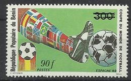 Foot Ball Soccer** MNH Espana 82  Benin 614 Coupe  Du Monde 1982 (surcharge Nouvelle Faciale ) - 1982 – Spain