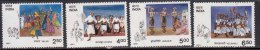 India MH 1991, Set Of 4, Tribal Dances, Dance, Culure, Music Instrument, - India
