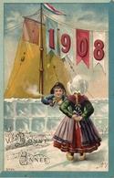 Année Date Millesime - 1908 - Hollandais Couple Voilier Pipe Bonne Année, Embossed - New Year