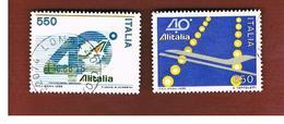 ITALIA REPUBBLICA  - UNIF. 1791.1792    1986   ALITALIA   -      USATO - 6. 1946-.. República