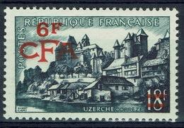 "Réunion Island, ""Uzerche"", French Stamp Overprint, 1955, MNH VF - Réunion (1852-1975)"