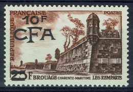 "Réunion Island, ""Brouage"", French Stamp Overprint, 1955, MNH VF - Reunion Island (1852-1975)"
