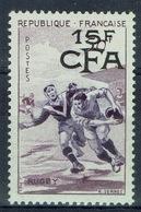 "Réunion Island, ""Rugby"", French Stamp Overprint, 1955, MNH VF - Ungebraucht"