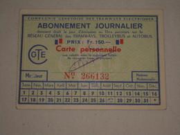 Abonnement Journalier Compagnie Genevoise Des Tramways Electriques - Dos Pub Horlogerie Calendrograf Movado - Tramways