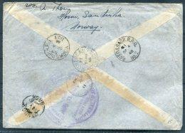1948 Norway Sandvika Registered Cover - Hendon, Saskatchewan, Via Montreal, Train Railway R.P.O. Canada - Canada