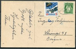 1944 Norway Christmas Postcard - Bergen. TB Charity, God Jul Seal - Norway