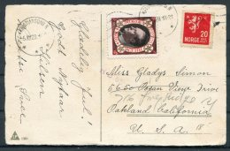 1928 Norway Glaedelig Jul, Christmas Postcard. Kristiansund - Oakland, California,USA. Crown Prince Olav Julen Seal - Norway