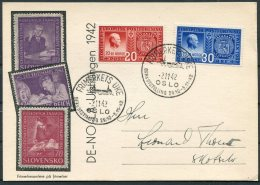1942 Norway Frimerkets Uke, DFKs Utstillung, Stamp Exhibition Postcard. Oslo, Postal Union Jubilee. Quisling - Norway