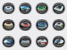 Russia, 2018 World Cup 2018 Set STADIUMS Of 12 Coins 25 Rubels - Russie