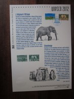 Premier Jour - Collection Historique Du Timbre-poste Français - Unesco éléphant D'afrique - Stonehenge (2012) - Documents De La Poste