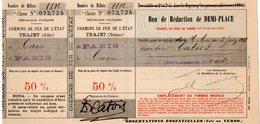 VP12.101 - 1911 - Train - Superbe Billet / Ticket Des Chemins De Fer De L'Etat Pour Un Trajet De CAEN à PARIS & Retour - Chemins De Fer